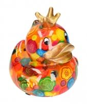 Kado spaarpot oranje eendje met kroontje16 cm
