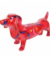 Kado spaarpot rode hond teckel met vlinder print 19 cm