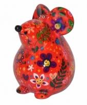 Kado spaarpot rode muis met bloemen print 17 cm