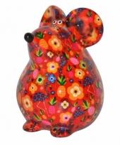Kado spaarpot rode muis met flamingo print 17 cm