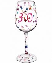 Kado wijnglas 30 jaar met versiering