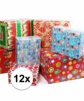 Kadopapier met kerst print 12 rollen