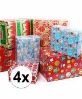 Kadopapier met kerst print 4 rollen