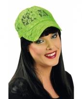 Kanten neon groen baseball cap voor dames
