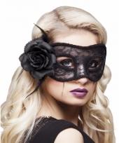 Kanten oogmasker met zwarte roos