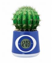 Kantoor gadget blauwe bloempot klok 11 cm