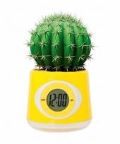 Kantoor gadget gele bloempot klok 11 cm