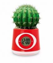 Kantoor gadget rode bloempot klok 11 cm