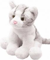 Kater poes knuffels grijs zittend 12 cm