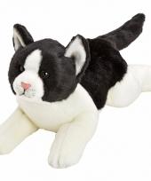 Kater poes knuffels liggend zwart wit 33 cm