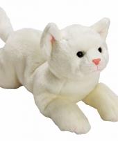 Kater poes knuffels wit liggend 33 cm
