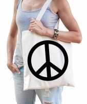 Katoenen tasje peace teken