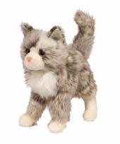 Katten knuffel langharig 30 cm grijs