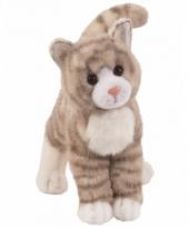 Katten poes knuffeldier grijs met strepen 30 cm