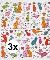 Katten thema kinder stickers 3 vellen