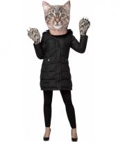 Katten verkleedset met masker en handschoenen