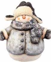 Kerst decoratie beeldje sneeuwpop 19 cm