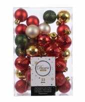 Kerst kerstballen set rood champagne goud en groen 33 delig plastic