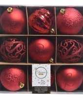 Kerst rode kerstballen mix van kunststof 9 stuks