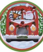 Kerst servies bordje kerstman en hulpjes in bus print 25 cm