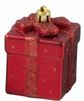 Kerstbal kadootje rood 9 cm