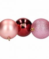 Kerstbal pakket roze en rood 10081386