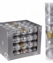 Kerstbal pakket zilver 8 cm