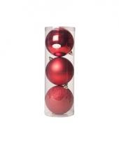 Kerstballen groot rood 3 stuks