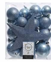 Kerstballen set in het ijsblauw kunststof 33 stuks