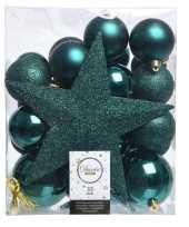 Kerstballenset in het smaragd groen kunststof 33 stuks