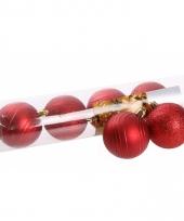 Kerstballenset rood 2 soorten 6 cm 10074433