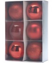 Kerstballenset rood 3 soorten 8 cm