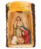 Kerstbeeldje jozef en maria met licht 19 cm
