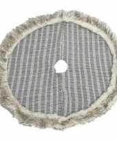 Kerstbomen rok kleed grijs geruit met bont rand 90 cm