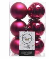 Kerstboom ballen fuchsia roze 6 cm