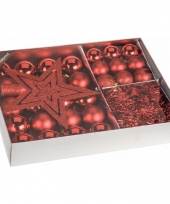 Kerstboom decoratie set 33 delig rood