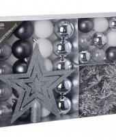Kerstboom decoratie set 33 delig zilver wit