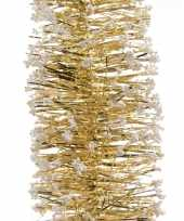 Kerstboom folie slinger met sneeuw goud 200 cm