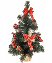Kerstboom met versiering rood goud 50 cm