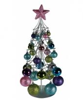 Kerstboom metaal met 30 ballen pastelkleur
