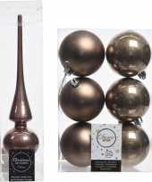 Kerstboom optuigen set bruin glazen piek en 6x kunststof ballen 8 cm