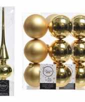Kerstboom optuigen set goud glazen piek en 12x kunststof ballen 8 cm