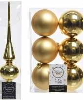 Kerstboom optuigen set goud glazen piek en 6x kunststof ballen 8 cm