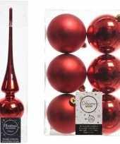 Kerstboom optuigen set rood glazen piek en 6x kunststof ballen 8 cm