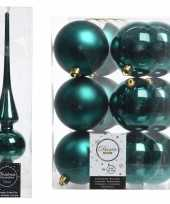 Kerstboom optuigen set smaragd groen glazen piek en 12x kunststof ballen 8 cm
