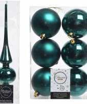 Kerstboom optuigen set smaragd groen glazen piek en 6x kunststof ballen 8 cm