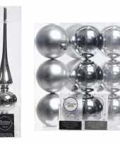 Kerstboom optuigen set zilver glazen piek en 12x kunststof ballen 8 cm