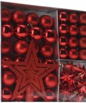 Kerstboom versieringset rood 45 delig