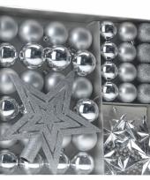 Kerstboom versieringset zilver 45 delig