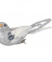 Kerstboom vogeltjes zilver